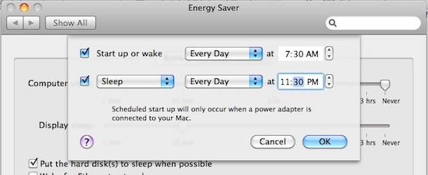 schedule sleep mac os x