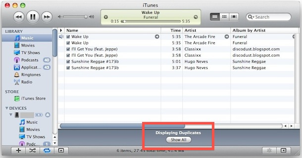 show duplicate songs itunes