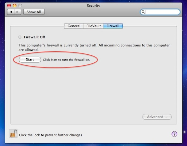 enable firewall mac os x