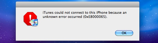 itunes iphone error 0xE8000065