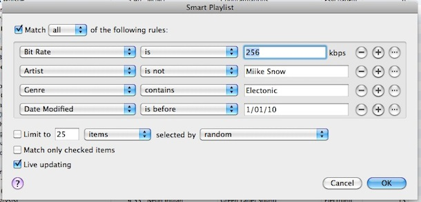 itunes smart playlist