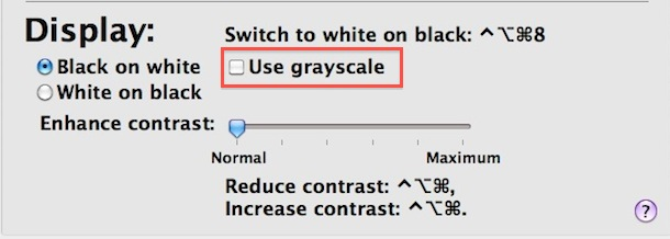 grayscale mode mac os x