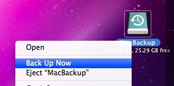manually backup with time machine
