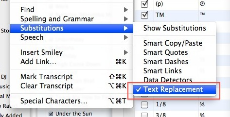 text replacement substitution mac os x